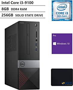 Dell Vostro (Better Than Inspiron) 3000 Series 3471 Small Form Factor SFF Desktop, Intel Core i3-9100 Processor, 8GB RAM, 256GB Solid State Drive, Wi-Fi, HDMI, VGA, DVD, Windows 10 Pro, KKE Mousepad