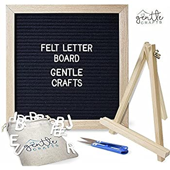 "Felt Letter Board Letters & Frame – 290 White Letters, 10"" x 10"" Oak Wood Felt Board with Stand & Scissors – Changeable Letterboard Sign for Messages, ..."
