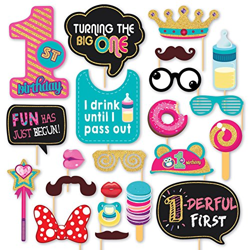 1st Birthday Decorations - Glitter Finished Party Photo Booth Props DIY Kit, 22 Pieces. 1 Year Old - Turning The Big One Photobooth Supplies with Chalkboard, Costumes and other Accessories