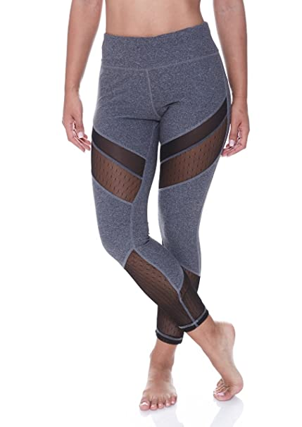 146a5afd58851 N.Y.L. Women's Spliced Mesh Panel Workout Exercise Yoga Leggings at ...