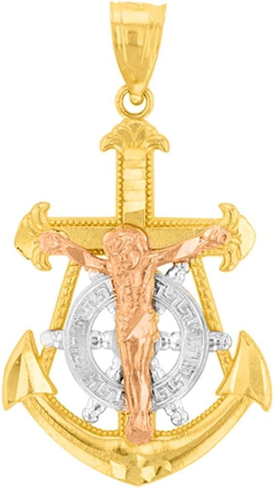 10k Tri Color Gold Mariners Anchor Cross Pendant Crucifix Pendant