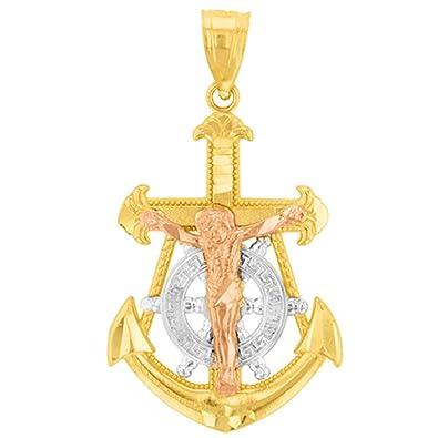 Amazon.com: Solid 14K Tri-Color Gold Fleur de Lis Anchor with ...