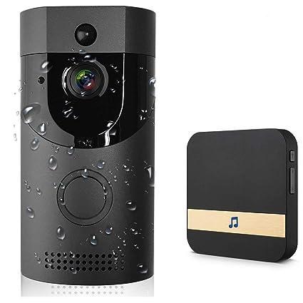 Timbre Video Wifi, Timbre Inteligente Cámara De Seguridad HD, IP65 Impermeable, Visión Nocturna