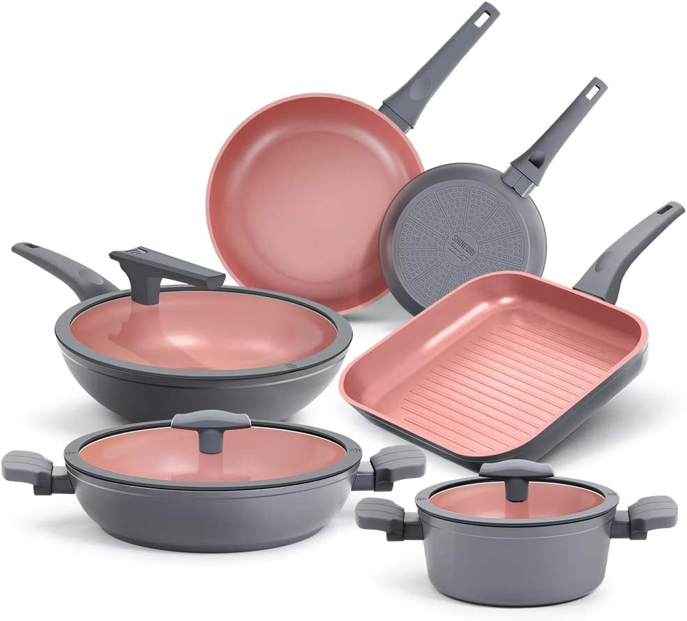 SHINEURI 9 Pieces Nonstick Cookware Pots Pans Set with Lids & Handles, Heavy-Duty Hard-Anodized Aluminum Kitchen Skillet Frying Pan Grill Pan compatible with Induction Stovetop - Dishwasher Safe