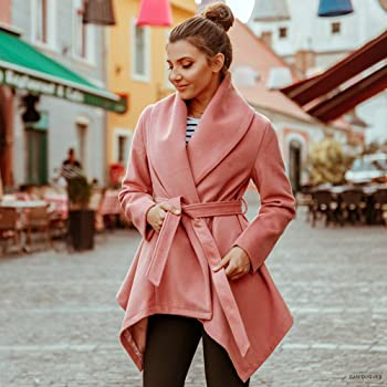 13a161603b4 Women s Turn Down Shawl Collar Earth Tone Check Black White  Grid Black Plum Cream Pink Wool Blend Coat. Chicwish Women s Turn Down  Shawl Collar Open Front ...