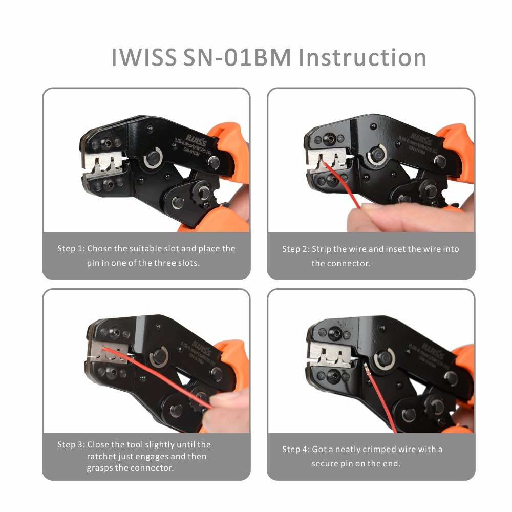 IWISS SN-01BM Crimper Tools for Dupont PH2.0 XH2.54 KF2510 JST Servo Connector Plug Mini European Style Crimping Plier for AWG 28-20 0.08-0.5mm2 D-SUB Terminals by Iwiss
