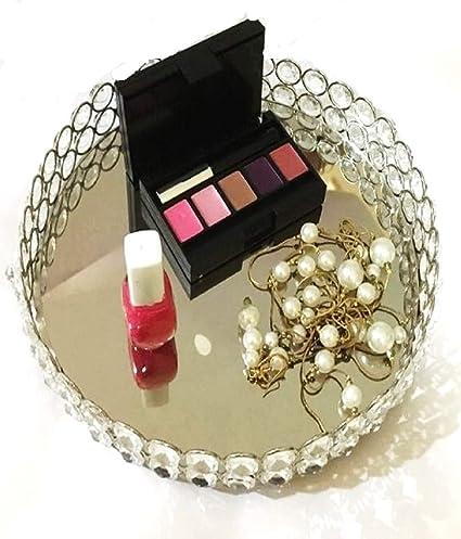 Bandeja decorativa Marigold Stores con base de metal y superficie de espejo.