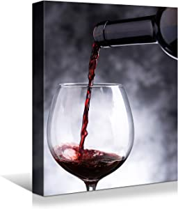 Looife Kitchen Wine Bottle Canvas Wall Art, 12x16 Inch Gallery Wrapped Red Wine Glass Cup Picture Prints Wall Decor, Black and White Art Deco for Dining Room and Bar Wall Decoration