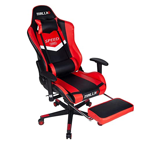 Polar Aurora Ergonomic Gaming Chair High Back Swivel Racing Office Chair PU Leather Sturdy Metal Frame with Adjustable Armrests and Footrest RED