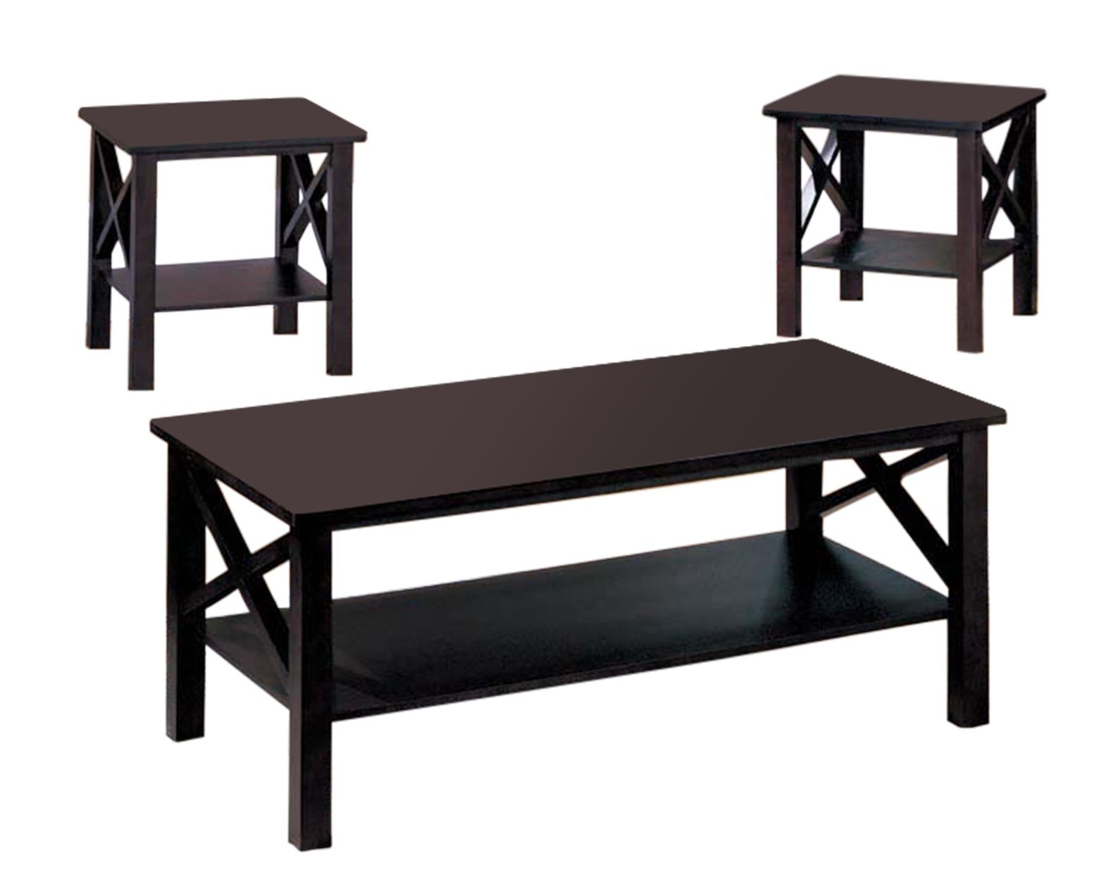 King's Brand 3 Pc. Cherry Finish Wood X Style Casual Coffee Table & 2 End Tables Occasional Set by King's Brand