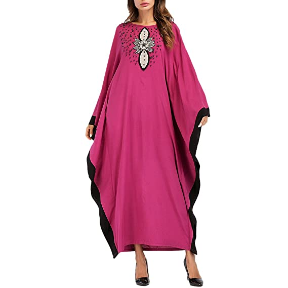 Zhhlaixing Muslims Islamic Malaysia Womens Long Dresses Bat Sleeve Large Robes Abaya Maxi Dress