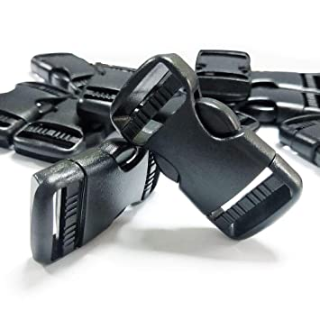 REKYO 12 PCS 1 Pulgada Plástico Cierre Rápido Lado Hebilla, Negro Mochila Cierre De Hebillas