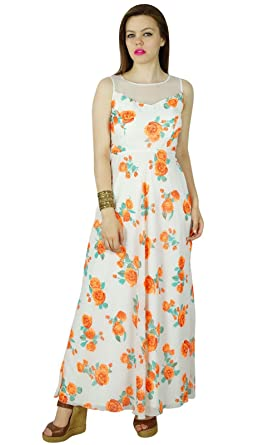 2f522c422a0c Bimba Women Long Floral White Dress Georgette Flaired Maxi Summer Wear