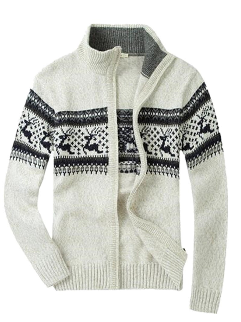 HILEELANG Men's Casual Slim Full Zip Basic Designed Knit Sweater Pullover Thick Knitted Cardigan Jacket Coat