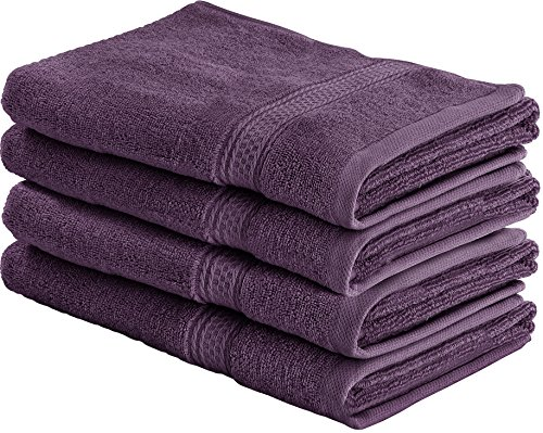 Cotton Large Hand Towels (Plum, 4-Pack,16 x 28 inches) - Multipurpose Use for Bath, Hand, Face, Gym and Spa - By Utopia Towels
