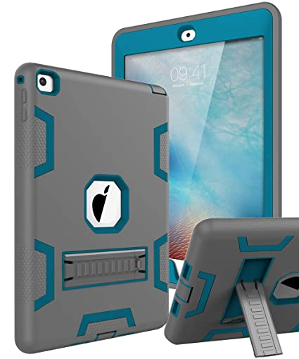 TOPSKY iPad Air 2 Case, iPad A1566/A1567 Kids Proof Case, Heavy Duty  Shockproof Rugged Armor Defender Kickstand Protective Cover Case for iPad  Air 2