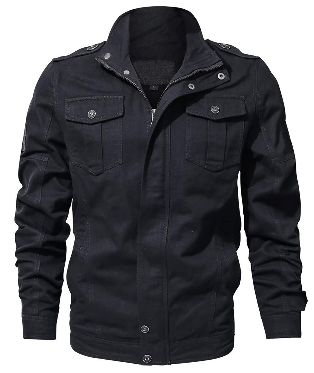 WULFUL Men's Cotton Military Jackets Casual Outdoor Coat Windbreaker Jacket by WULFUL