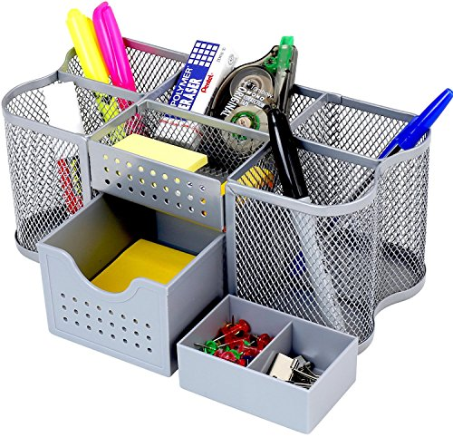 DecoBros Desk Supplies Organizer Caddy, Silver ()