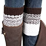 Boots Best Deals - Coromose® 2015 Jacquard Knitted Cuffs Toppers Liner Boot Leg Warmers Socks (Brown)