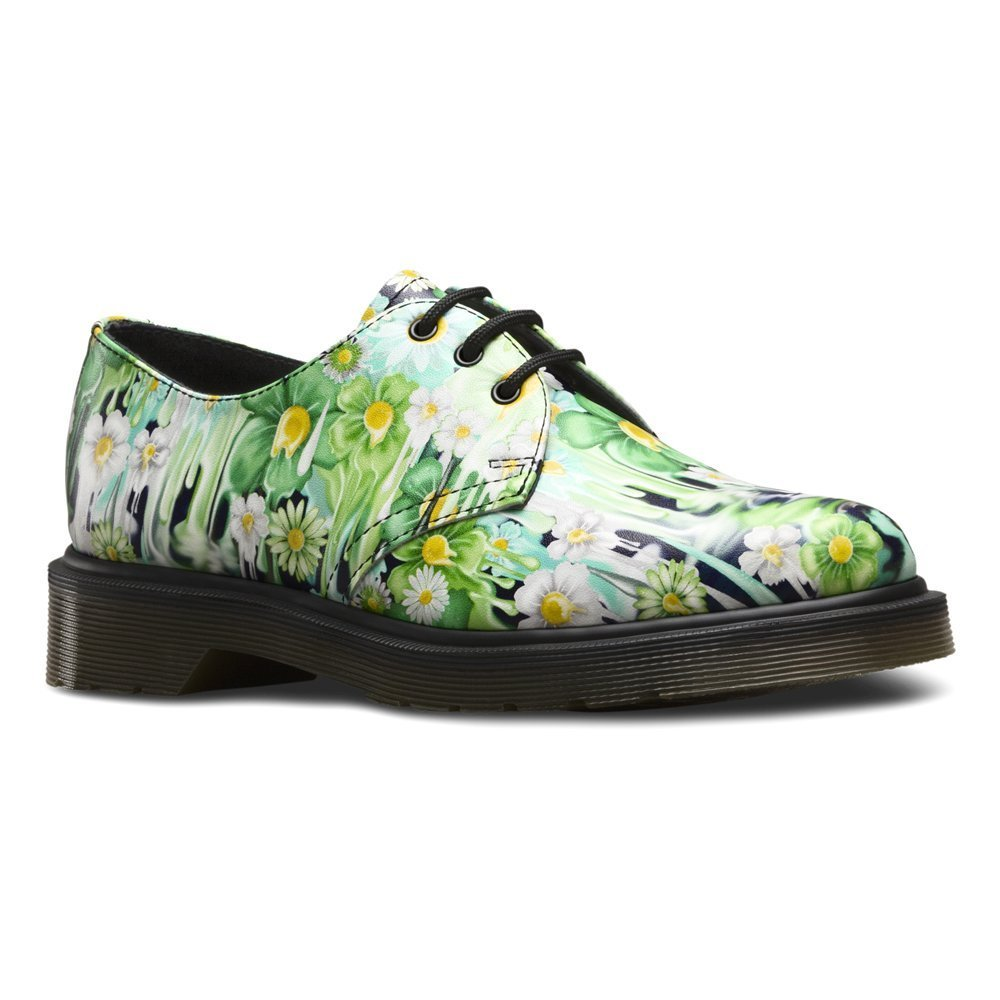 Dr. Martens Women's Slime Floral 1461 3 Eye Oxfords, Green Leather, 5 M UK, 7 M US