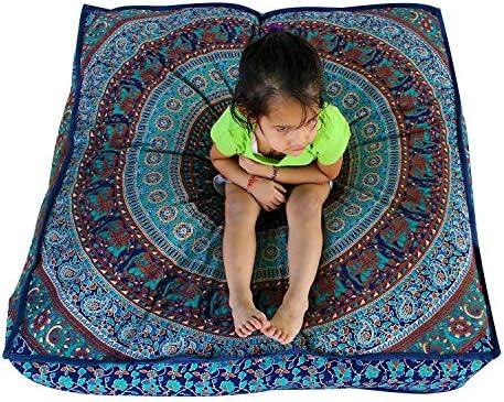 Square Olifant Mandala vloer kussen Indiase kussen Cover vloer kussen Sham Ottomaanse vloer poef oversized bank grote hond bed 35X35