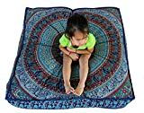 GANESHAM Indian Seating Dog Bed Boho Floor Pillow Bohemian Tapestry Handmade Pouf Ottoman, Mandala Cotton Cushion Cover Throw pet beds Children Bedding Pouf cat Bed Boho Decor (Blue Elephant)