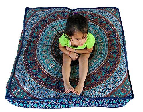 GANESHAM Indian Seating Dog Bed Boho Floor Pillow Bohemian Tapestry Handmade Pouf Ottoman, Mandala Cotton Cushion Cover Throw pet beds Children Bedding Pouf cat Bed Boho Decor (Blue Elephant)