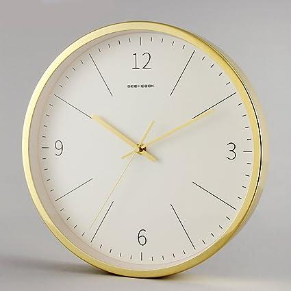 Goolife Metal Mute Reloj de Pared creativos Mode Salón Reloj Digital, Fácil de Lectura para