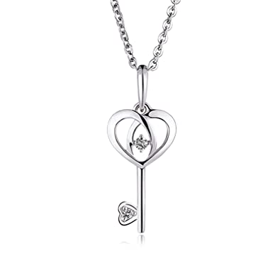 efaff2f734de Daesar Collar Mujer Oro Blanco 18k Collar Corazón Llave Colgante Solitario  Circonita Plata Collar Mujer Plata-0.45  Amazon.es  Joyería