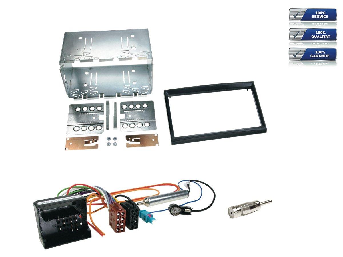 schwarz NIQ Doppel-DIN Radioeinbau-Komplettset f/ür Peugeot 207 207CC 307