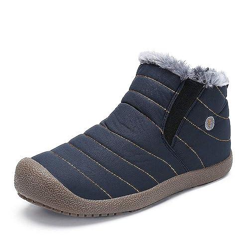 0e869ff1db2b4 DADAZE Chaussures d hiver Bottes de Neige Homme Femme Garçon Fille Chaudes  Fourrure Baskets Bottines
