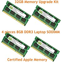 32GB (4 X 8GB) DDR3-1600MHz PC3-12800 SODIMM for Apple iMac 21.5 Late 2012 Intel Core i7 Quad-Core 3.2GHz 3.4GHz 27 MD096LL/A CTO (iMac13,2)