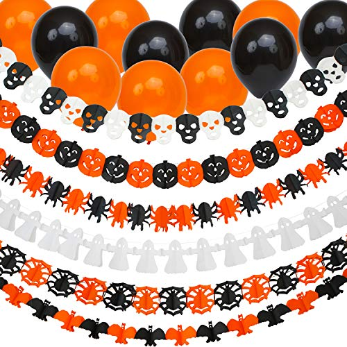 Elcoho 6 Set Halloween Paper Garlands Decoration Pumpkin Spider Bat Skull Spider Web Ghost Shape with 10 Black Balloons and 10 Orange Balloons -