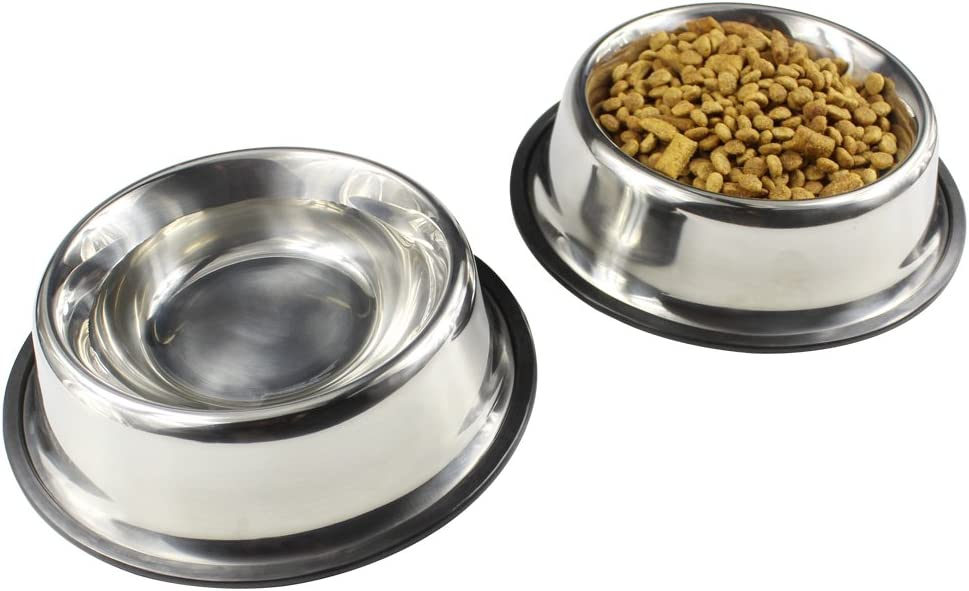 Hoki Found Pet Bowls - Dog & Cat Dishes Stainless Steel - Non Slip Pet Food and Water Bowls, Set of 2
