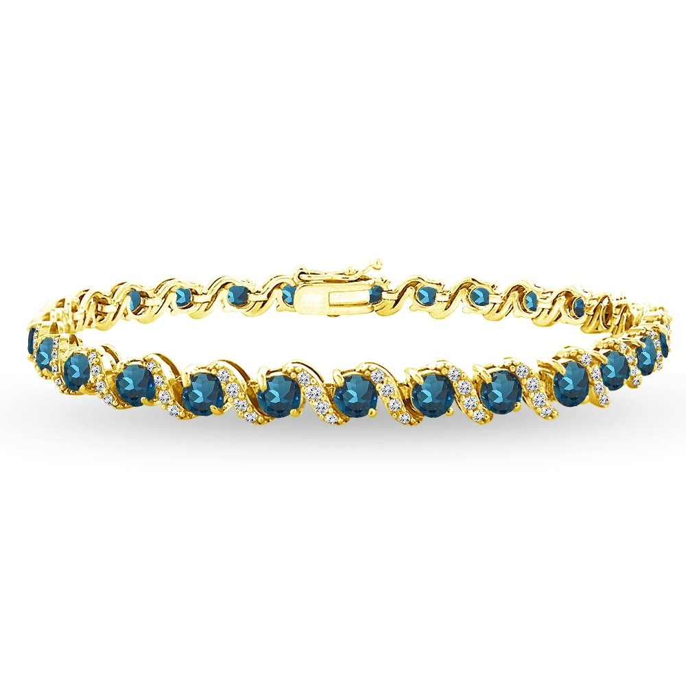 Yellow Gold Flashed Sterling Silver London Blue Topaz 4mm Round-Cut S Design Tennis Bracelet with White Topaz Accents