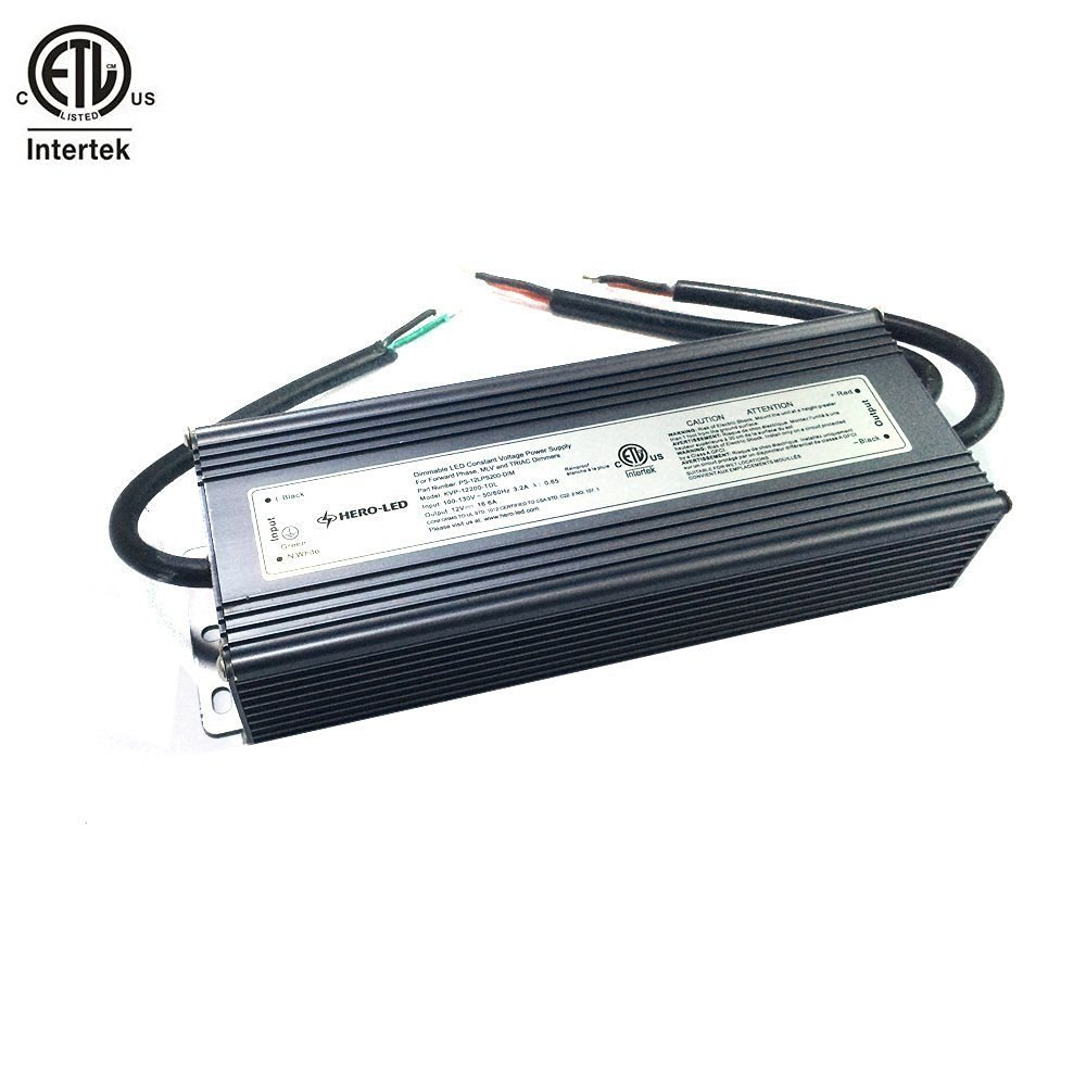 HERO-LED PS-12LPS200-DIM ETL-listed Dimmable LED Constant Voltage Power Supply - Dimmble LED Transformer 12V DC, 16.7A, 200W