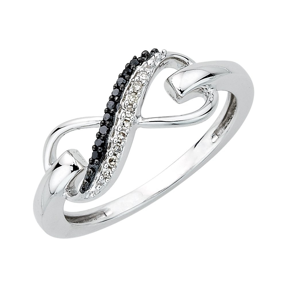 Two Row Infinity Black and White Diamond Ring in Sterling Silver (1/20 cttw) (Size-7.5)