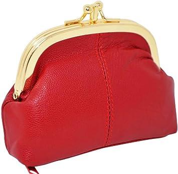 Monedero con cierre clic clac en piel de cordero, 3compartimentos, 20colores diferentes Rojo rojo