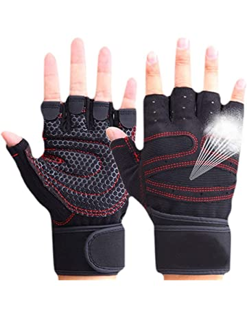 f8d3684e8 CESHUMD Sport Gym Guantes Mitad Dedos Levantamiento Breathable Fitness –  Pesas Guantes Hombres Mujeres Gym Guantes