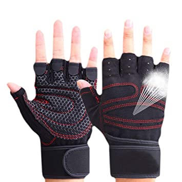CESHUMD Sport Gym Guantes Mitad Dedos Levantamiento Breathable Fitness - Pesas Guantes Hombres Mujeres Gym Guantes tamaño L, Color Negro, tamaño Large: ...