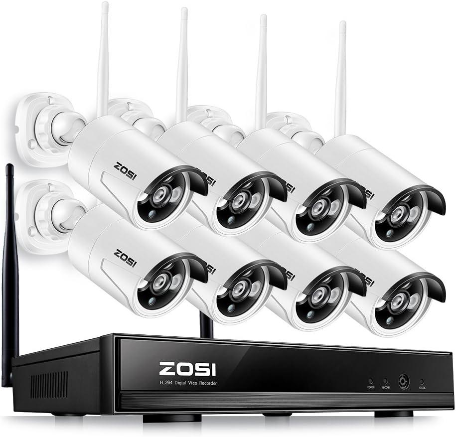 ZOSI 960P Kit de Cámaras Seguridad WiFi Inalámbrico 8CH Video Grabador + (8) Cámara de Vigilancia Exterior, Visión Nocturna, Detección de Movimiento, Sin Disco Duro