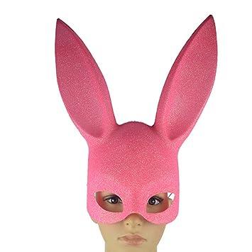 Máscara de conejo con orejas y de cara completa