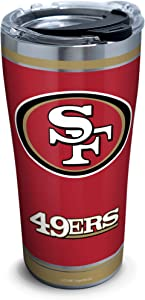 Tervis NFL San Francisco 49ers - Touchdown Stainless Steel Insulated Tumbler with Clear and Black Hammer Lid, 20 oz, Silver