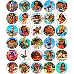 30 x Edible Cupcake Toppers – Moana Themed Collection of Edible Cake Decorations | Uncut Edible Prints on Wafer Sheet