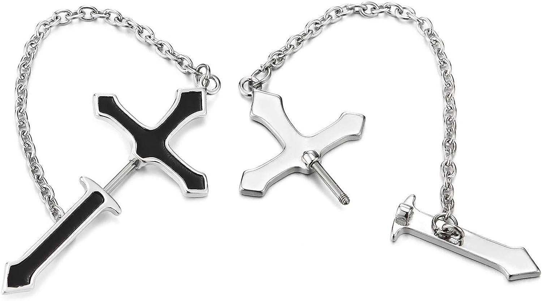 Steel Cheater Fake Ear Plugs Gauges Black Enamel Mens Steel Cross Stud Earrings with Chain