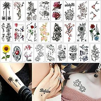 25 hojas falsas negro pequeño tatuaje adhesivo 10,5 x 6 cm ...