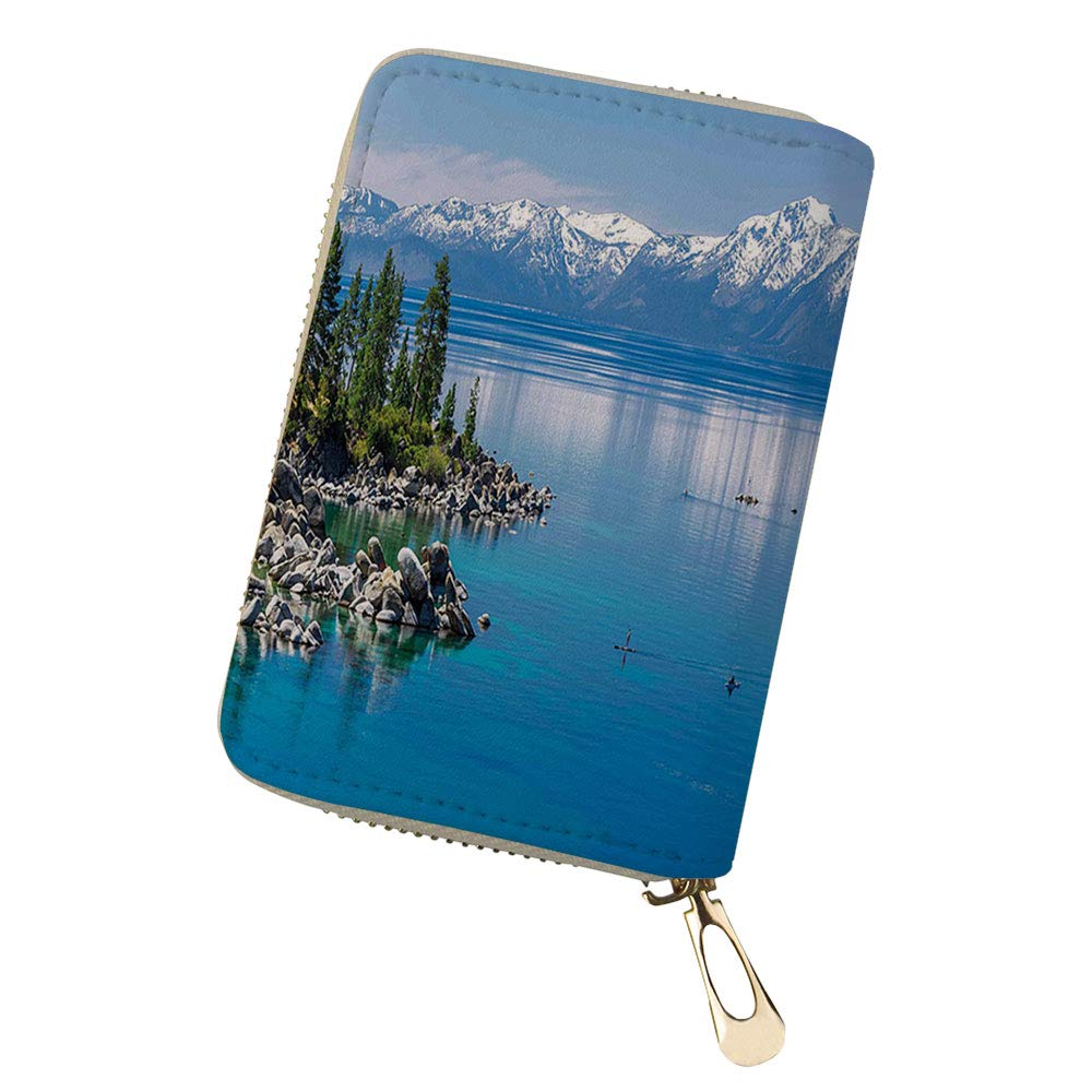 RFID Blocking Credit Card Holder Bridge New York USA Leather Zipper Card Case