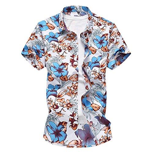 Bleu Homme imprimer Hawaïenne Variées courte Manche Hawaiian Couleurs 1 Allthemen Chemise twxUPqzP