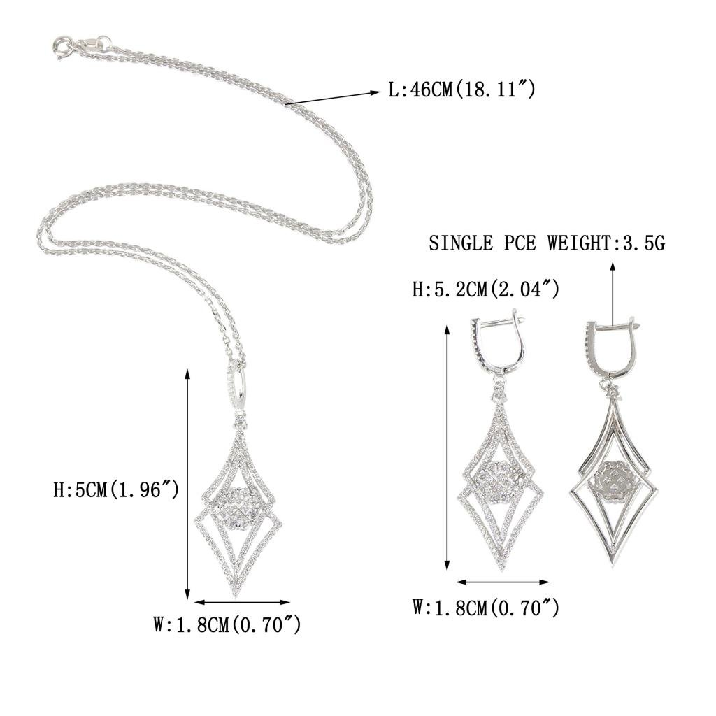 EVER FAITH Silver-Tone Zircon Elegant Double Rhombus Shaped Pendant Necklace Earrings Set Clear by EVER FAITH (Image #4)