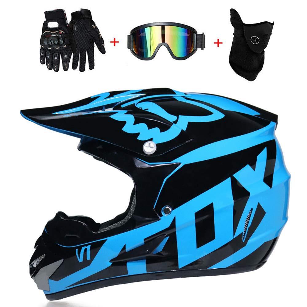 LETU Casque de Motocross pour Adulte MX Casque de Moto Scooter ATV Casque de Course sur Route Route certifié D.O.T Fox Bleu avec des Gants Masque Anti-Vent Masque (S, M, L, XL),S55~56CM